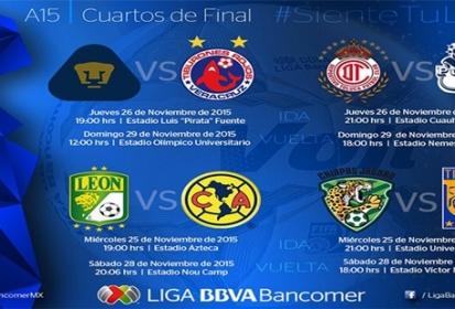 Quedan definidos los horarios de los cuartos de final en la Liga MX